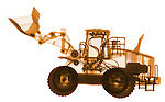 X-ray image of a loader (orange on white) by Jim Wehtje, specialist in x-ray art and design images.