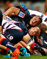 DURBAN, SOUTH AFRICA - MARCH 23: Coenie Oosthuizen of the Cell C Sharks on top of Billy Meakes of the Melbourne Rebels during the Super Rugby match between Cell C Sharks and Rebels at Jonsson Kings Park on March 23, 2019 in Durban, South Africa. Photo: Steve Haag /stevehaagsports.com