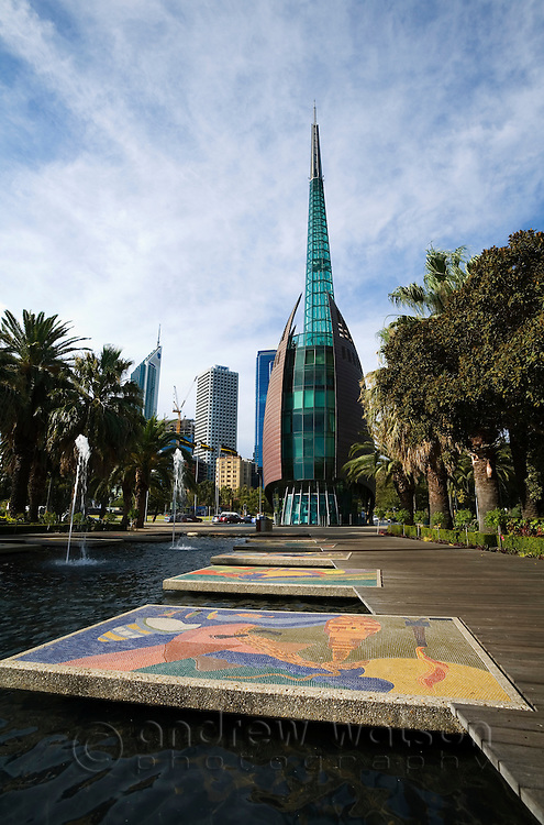 The Swan Bell Tower near the Barrack Street jetty.  The Perth landmark contains the royal bells of St Martin's-in-the-Fields.  Perth, Western Australia, AUSTRALIA.