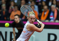 Arena Loire,  Trélazé,  France, 16 April, 2016, Semifinal FedCup, France-Netherlands, Second match: Kristina Mldenovic vs Richel Hogenkamp (NED), Pixtured : Richel Hogenkamp<br /> Photo: Henk Koster/Tennisimages