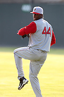 Lowell Spinners Pitcher Miguel Celestino (44) during a game vs. the Batavia Muckdogs at Dwyer Stadium in Batavia, New York July 14, 2010.   Batavia defeated Lowell 12-2.  Photo By Mike Janes/Four Seam Images
