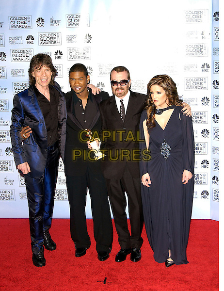 MICK JAGGER, USHER, DAVE STEWART & LISA MARIE PRESLEY.62nd Annual Golden Globe Awards at The Beverly Hilton Hotel Hotel, Los Angeles, California. Pressroom.January 16th, 2005 .full length, award trophy, blue suit, blue dress, brooch clasp, arms around waist, shoulder.www.capitalpictures.com.sales@capitalpictures.com.©Capital Pictures