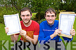 Twins Daniel and Dean Murphy who achieved virtually identical results in the Leaving Cert after collecting their papers in St Brendan's College on Wednesday