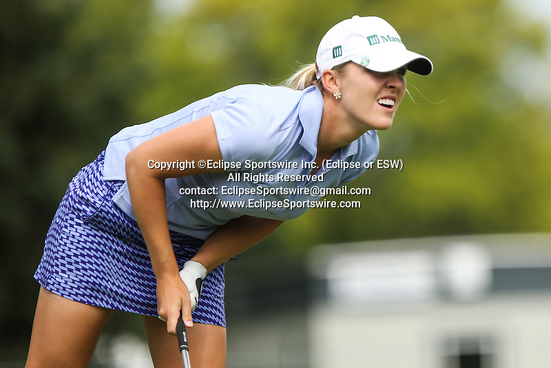 Jennifer Kirby watches her ball from the 11th tee at the LPGA Championship 2014 Sponsored By Wegmans at Monroe Golf Club in Pittsford, New York on August 16, 2014