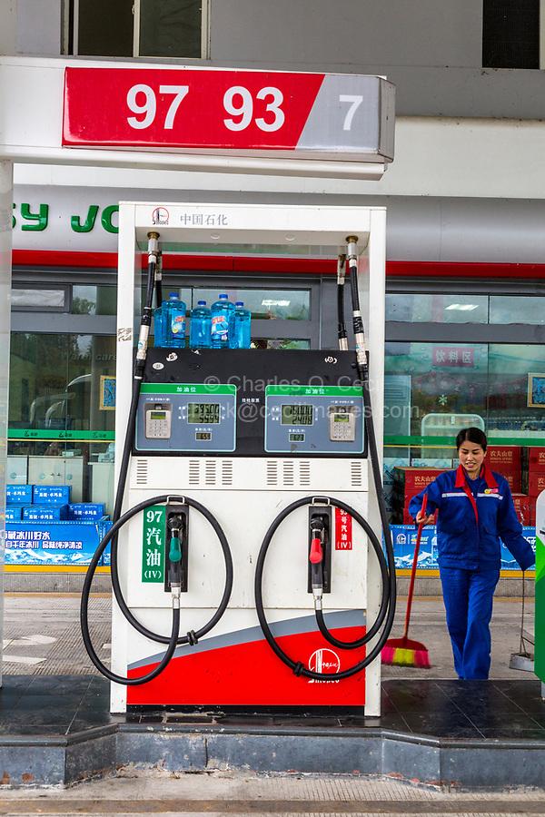 Guizhou, China, between Zhaoxing and Kaili.  Gas (Petrol) Pump at a Gas Station.