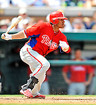 9 March 2011: Philadelphia Phillies' outfielder Delwyn Young in action during a Spring Training game against the Detroit Tigers at Joker Marchant Stadium in Lakeland, Florida. The Phillies defeated the Tigers 5-3 in Grapefruit League play. Mandatory Credit: Ed Wolfstein Photo