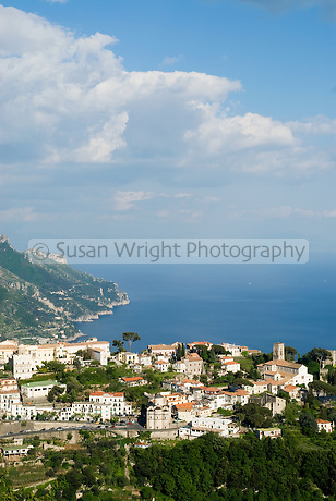 Village of Ravello in the mountains overlooking the sea of the Amalfi Coast, Italy