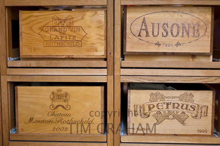 Fine wines Lafite Rothschild, Ausone, Petrus and Chateau Mouton Rothschild at Vignobles et Chateaux wine merchant in St Emilion, Bordeaux, France