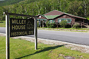Willey House Historical site in Hart's Location of the New Hampshire White Mountains. The Willey House Historical site is within Crawford Notch State Park.