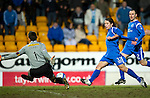 St Johnstone v Hamilton Accies....02.02.11  .Tomas Cerny saves Stevie May's shot.Picture by Graeme Hart..Copyright Perthshire Picture Agency.Tel: 01738 623350  Mobile: 07990 594431