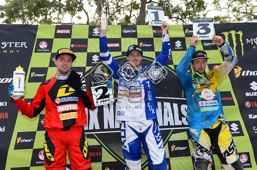 Podium (L-R) Matt Moss - 2nd ;<br /> Billy MacKenzie 1st &amp; Jake Moss - 3rd<br /> Monster Energy MX Nationals / MX1<br /> 2013 Motorcross Championships<br /> Round 7 / Hervey Bay QLD<br /> Sunday July 28th 2013<br /> &copy; Sport the library/Jeff Crow