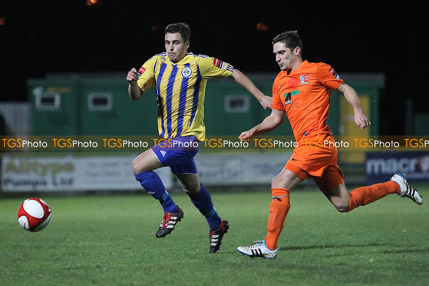 James Ishmail of Romford and Dave Wareham of Maldon & Tiptree - Romford vs Maldon & Tiptree - Ryman League Division One North Football at Ship Lane, Thurrock FC - 21/11/12 - MANDATORY CREDIT: Gavin Ellis/TGSPHOTO - Self billing applies where appropriate - 0845 094 6026 - contact@tgsphoto.co.uk - NO UNPAID USE.