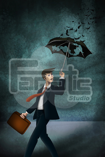 Illustrative image of young businessman with worn out umbrella in storm representing inadequate insurance