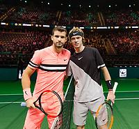 Rotterdam, The Netherlands, 16 Februari, 2018, ABNAMRO World Tennis Tournament, Ahoy, Tennis, Grigor Dimitrov (BUL), Andrey Rublev (RUS)<br /> <br /> Photo: www.tennisimages.com