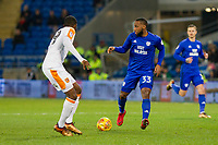 Junior Hoilett of Cardiff City takes on Fikayo Tomori of Hull City during the Sky Bet Championship match between Cardiff City and Hull City at the Cardiff City Stadium, Cardiff, Wales on 16 December 2017. Photo by Mark  Hawkins / PRiME Media Images.