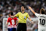 Juan Martínez Munuera FIFA Referee (L) gestures during their La Liga  2018-19 match between Real Madrid CF and Atletico de Madrid at Santiago Bernabeu on September 29 2018 in Madrid, Spain. Photo by Diego Souto / Power Sport Images