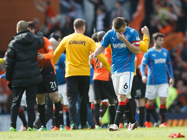 Lee McCulloch dejection as Dundee Utd party after the match