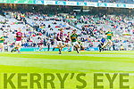 David Shaw Kerry in action against Eoin McFadden Galway in the All Ireland Minor Football Final in Croke Park on Sunday.