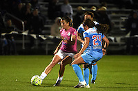 Kansas City, MO - Friday May 13, 2016: FC Kansas City midfielder Mandy Laddish (7) against Chicago Red Stars midfielder Danielle Colaprico (24) during a regular season National Women's Soccer League (NWSL) match at Swope Soccer Village. The match ended 0-0.