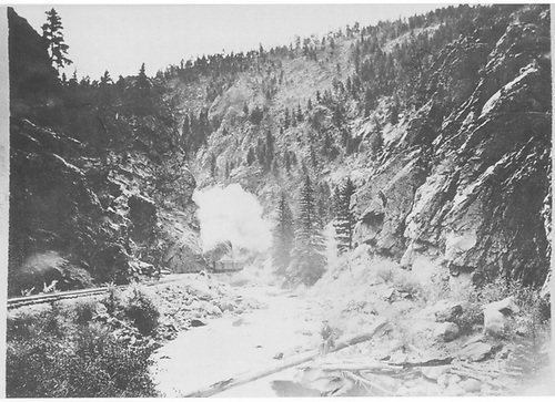 A two-car C&amp;S passenger train approaching in Platte Canyon.<br /> C&amp;S  Platte River Canyon, CO