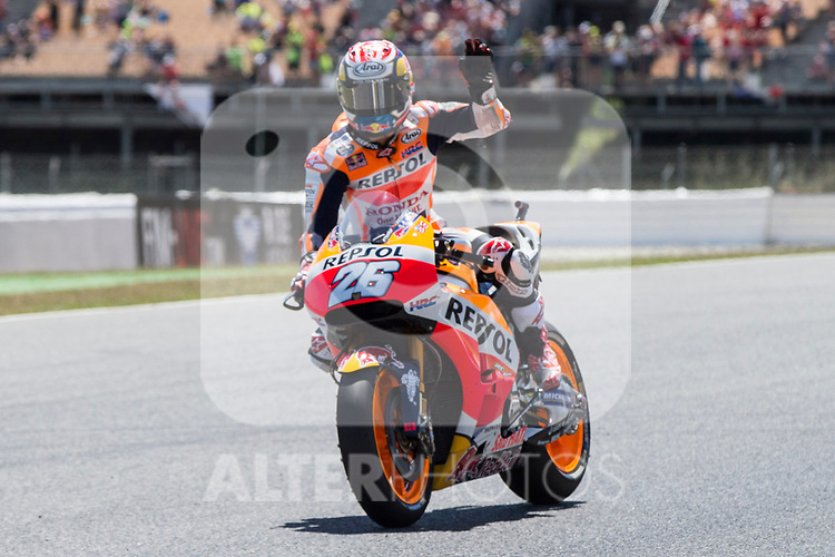 Dani Pedrosa of Spain and Repsol Honda Team rides during the qualifying for the MotoGP of Catalunya at Circuit de Catalunya on June 9, 2017 in Montmelo, Spain.(ALTERPHOTOS/Rodrigo Jimenez)