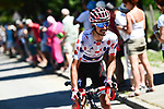Polka Dot Jersey Julian Alaphilippe (FRA) Quick-Step Floors climbs during Stage 12 of the 2018 Tour de France running 175.5km from Bourg-Saint-Maurice les Arcs to Alpe D'Huez, France. 19th July 2018. <br /> Picture: ASO/Alex Broadway | Cyclefile<br /> All photos usage must carry mandatory copyright credit (&copy; Cyclefile | ASO/Alex Broadway)