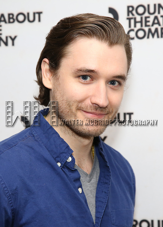 """Seth Numrich attends the """"Travesties"""" Meets The Press on March 6, 2018 at the Roundabout Theatre in New York City."""