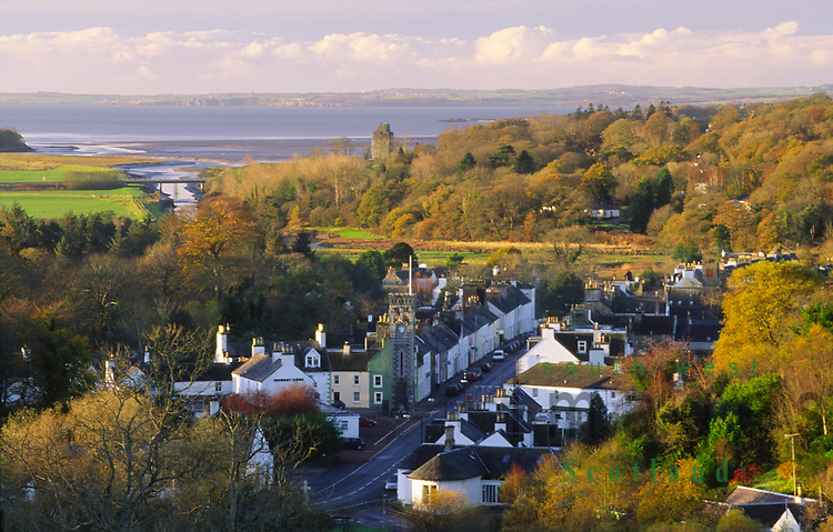 Autumn looking down on a autumnal Gatehouse of Fleet and out across Wigtown Bay to the Machars of Galloway Scotland UK
