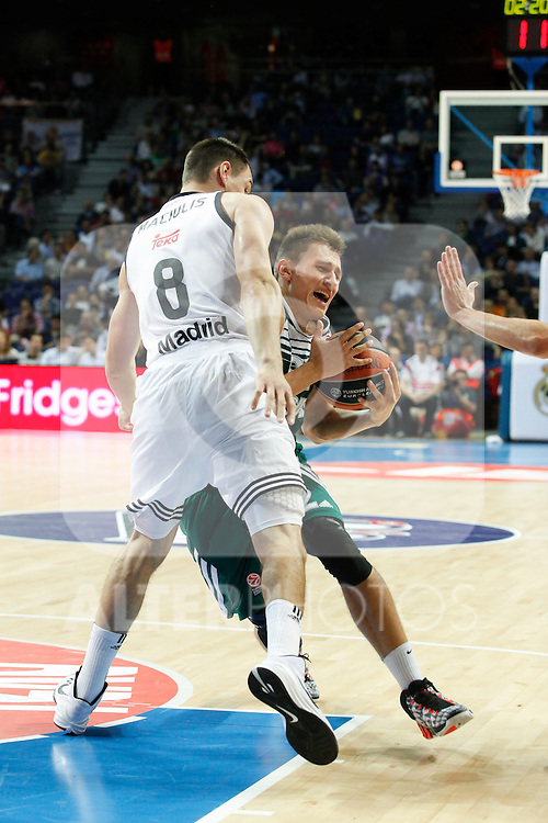 Basketball Real Madrid´s Maciulis (L) and Zalgiris Kaunas´s Ulanovas during Euroleague basketball match in Madrid, Spain. October 17, 2014. (ALTERPHOTOS/Victor Blanco)
