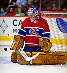4 December 2008: Montreal Canadiens' goaltender Carey Price warms up prior to facing the New York Rangers for their first meeting of the season at the Bell Centre in Montreal, Quebec, Canada. The Canadiens, celebrating their 100th season, played in the circa 1915-1916 uniforms for the evenings' Original Six matchup. *****Editorial Use Only*****..Mandatory Photo Credit: Ed Wolfstein Photo