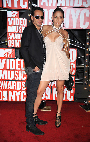 Marc Anthony and Jennifer Lopez at the 2009 MTV Video Music Awards at Radio City Music Hall in New York City. September 13, 2009.. Credit: Dennis Van Tine/MediaPunch