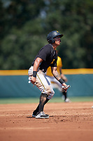 Pittsburgh Pirates Bligh Madris (13) leads off second base during an Instructional League intrasquad black and gold game on September 28, 2017 at Pirate City in Bradenton, Florida.  (Mike Janes/Four Seam Images)