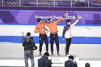OLYMPIC GAMES: PYEONGCHANG: 13-02-2018, Gangneung Oval, Long Track, 1500m Men, Final Result, Patrick Roest (NED), Kjeld Nuis (NED), Kim Min Seok (KOR), ©photo Martin de Jong