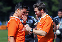 Referee Dan Waenga (left) confers with assistant Nick Hogan during the rugby match between New Zealand Maori Under-18 and Fiji Schools at Jerry Collins Stadium in Porirua, Wellington, New Zealand on Friday, 5 October 2018. Photo: Dave Lintott / lintottphoto.co.nz