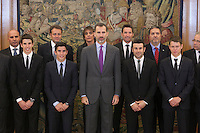 King Felipe VI of Spain receives moto riders Marc Marquez, Alex Marquez, Steve Rabat and Toni Bou during Royal Audience at Zarzuela Palace in Madrid, Spain. November 20, 2014. (ALTERPHOTOS/Victor Blanco) /NortePhoto.com<br />