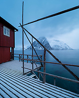 Red rorbu fisherman cabin on shore of Reinefjord with Olstind in background, Moskenesøy, Lofoten Islands, Norway