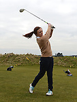 Junior Lady Captain Niamh Jordan tees off at the Captain's drive in at Seapoint golf club. Photo:Colin Bell/pressphotos.ie
