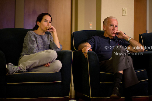 United States Vice President Joe Biden and his daughter Ashley Biden watch the third presidential debate from a hotel room in Toledo, Ohio, October 22, 2012. .Mandatory Credit: David Lienemann - White House via CNP