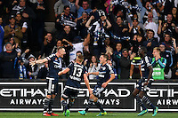 Melbourne, 17 December 2016 - BESART BERISHA (8) of the Victory celebrates his goal in the round 11 match of the A-League between Melbourne City and Melbourne Victory at AAMI Park, Melbourne, Australia. Victory won 2-1 (Photo Sydney Low / sydlow.com)