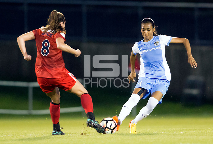 Boyds, MD - Saturday April 29, 2017: Lindsay Elizabeth Agnew, Bruna Benites during a regular season National Women's Soccer League (NWSL) match between the Washington Spirit and the Houston Dash at Maureen Hendricks Field, Maryland SoccerPlex. The Dash won 1-0.