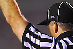 A referee makes a call at the Middle Tennessee vs. University of Louisville game. The No. 8-rank Louisville Cardinals (2-0) defeated the Middle Tennessee State Raiders 58-42. The high-scoring affair lasted 3 hours, 54 minutes in front of 40,882 in Louisville.