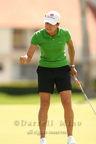 Apr. 2, 2006; Rancho Mirage, CA, USA; Lorena Ochoa reacts after sinking her putt during the Kraft Nabisco Championship at Mission Hills Country Club. ..Mandatory Photo Credit: Darrell Miho.Copyright © 2006 Darrell Miho .