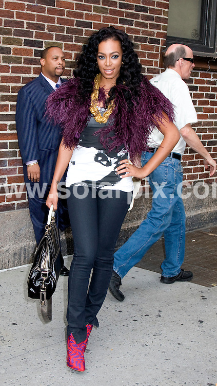**ALL ROUND PICTURES FROM SOLARPIX.COM**.**SYNDICATION RIGHTS FOR UK, SPAIN, PORTUGAL, AUSTRALIA, S.AFRICA & DUBAI (U.A.E) ONLY**.arrivals for the filming of The Late Show with David Letterman, at the Ed Sullivan Theatre, New York City, NY, USA. on August 25, 2008..This pic: Solange Knowles..JOB REF: 7121 PHZ-Mayer    DATE: 25_08_2008.**MUST CREDIT SOLARPIX.COM OR DOUBLE FEE WILL BE CHARGED* *UNDER NO CIRCUMSTANCES IS THIS IMAGE TO BE REPRODUCED FOR ANY ONLINE EDITION WITHOUT PRIOR PERMISSION*