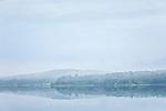 A foggy day on Taunton Bay in Franklin, Maine, USA