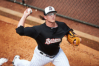 Birmingham Barons pitcher Carson Fulmer (15) throws in the bullpen before a game against the Pensacola Blue Wahoos on May 2, 2016 at Regions Field in Birmingham, Alabama.  Pensacola defeated Birmingham 6-3.  (Mike Janes/Four Seam Images)