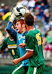 12 September 2010: Cornell University Big Red goalkeeper Rick Pflasterer, a Sophomore from Ann Arbor, MI, in action against the University of Vermont Catamounts at Centennial Field in Burlington, Vermont. The Catamounts edged out the Big Red 2-1. Mandatory Credit: Ed Wolfstein Photo