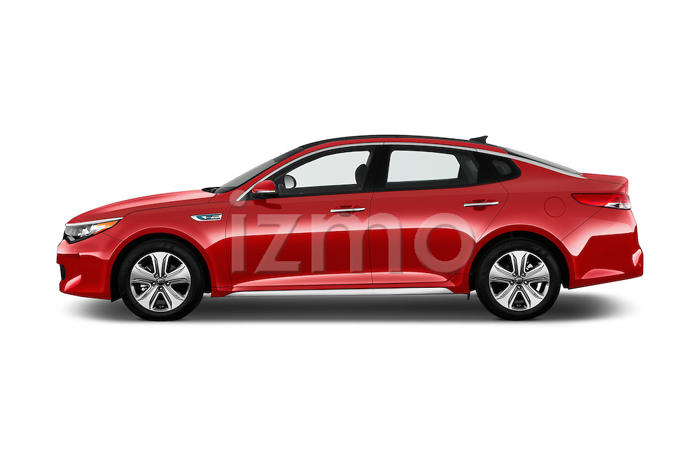 Car Driver side profile view of a 2018 KIA Optima EX-Hybrid 4 Door Sedan Side View