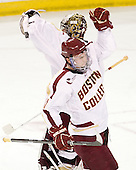 Parker Milner (BC - 35), Pat Mullane (BC - 11) - The Boston College Eagles defeated the visiting University of Massachusetts-Amherst Minutemen 2-1 in the opening game of their 2012 Hockey East quarterfinal matchup on Friday, March 9, 2012, at Kelley Rink at Conte Forum in Chestnut Hill, Massachusetts.