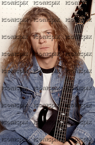Metallica - Jason Newsted - backstage at the Messehalle, Hannover, Germany - 19 May 1990. Photo credit: George Chin/IconicPix