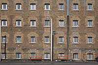 A view of D wing from the exercise yard at Wandsworth Prison..HMP Wandsworth in South West London was built in 1851 and is one of the largest prisons in Western Europe. It has a capacity of 1456 prisoners.